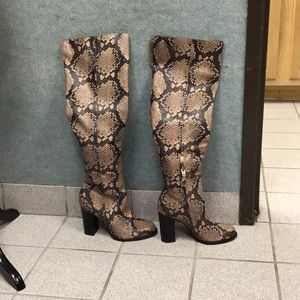 Sam Edelman Snake Print leather block heel boots